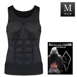 MONOVO マッスルプレス メンズタンクトップ[ブラック][Mサイズ](1枚)胸囲:83〜93cm
